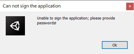 【Unity】Android用のapkをビルドしようとしたら「Can not sign the application: Unable to sign the application; please provide passwords!」と出た時の対処